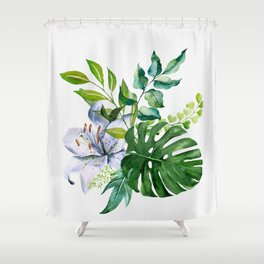 Flower and Leaves Shower Curtain