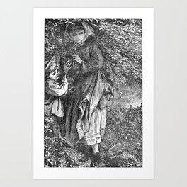 A Bit of Sunshine (1879) - A boy and girl crouched under a bush Art Print