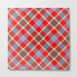 Red tartan, plaid with black blue stripes Metal Print