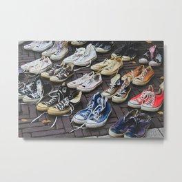 Sneakers shoes at a flea market Metal Print