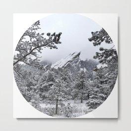 Boulder Colorado Flatirons In Snow Metal Print