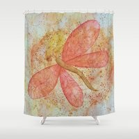 dragonfly Shower Curtains featuring Dragonfly by Crystal Nero