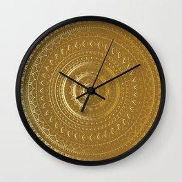 Gold Mandala. Indian decorative pattern. Wall Clock
