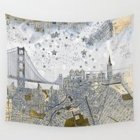 skyline Wall Tapestries featuring San Francisco skyline old map by Paula Belle Flores