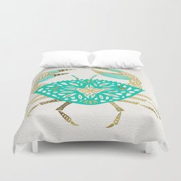 Crab – Turquoise & Gold Duvet Cover