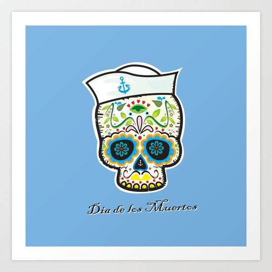 Dia de los Muertos/mexican sailor skull Art Print
