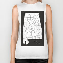 Modern Map - Alabama county map USA black and white silhouette Biker Tank