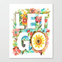 let it go Canvas Prints featuring Let Go by Katie Daisy