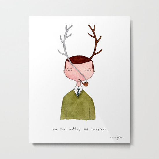 One real antler, one imagined Metal Print