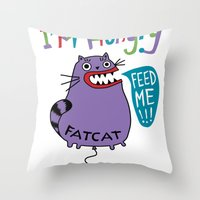 my mad fat diary Throw Pillows featuring Fat Cat by Andi Bird