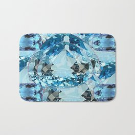 March Babies Blue Aquamarine Gems Abstract design. Bath Mat