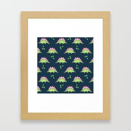 Green and Pink Stegosaurus Dinosaur on navy with leaves Framed Art Print