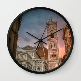 Florence Duomo at Sunset Wall Clock