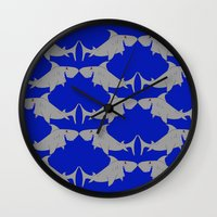 sharks Wall Clocks featuring Sharks by superdumb