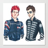 my chemical romance Canvas Prints featuring My Chemical Pilots by poweredbycokezero