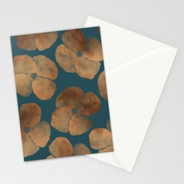 Abstract Metal Copper Flowers on Emerald Stationery Cards