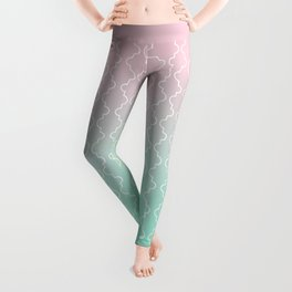 Moroccan pattern with mint, pink and gold Leggings