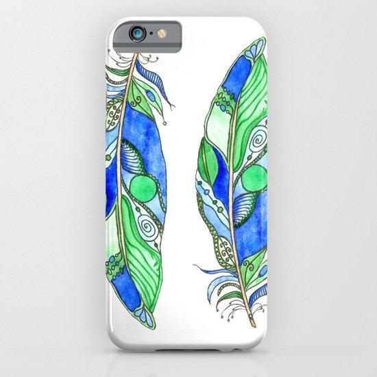 Bohemian Spirit Feathers - Blue & Green iPhone & iPod Case