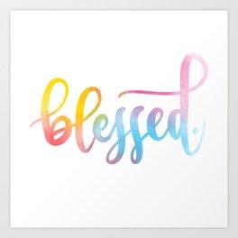 Blessed. Hand lettered. Art Print