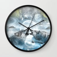wolves Wall Clocks featuring Wolves by haroulita