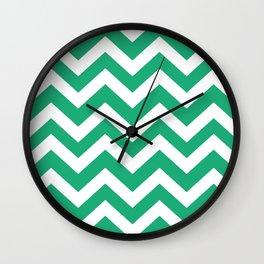 Green (Crayola) - green color - Zigzag Chevron Pattern Wall Clock