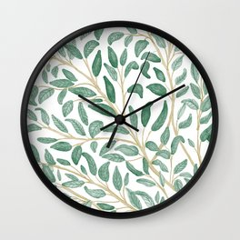 Green Leaf Pattern Wall Clock