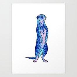 'Meekly Blue' Blue Pointillism Meerkat Illustration Art Print