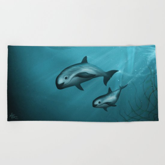 Treacherous Waters - Vaquita Porpoise Beach Towel
