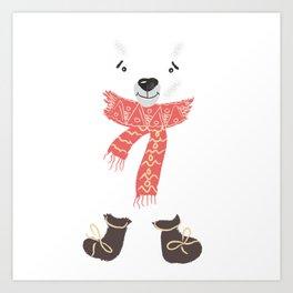 Christmas cute bear. Winter design illustration Art Print