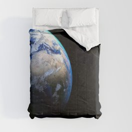 Earth and Moon Deep Space Telescopic Photograph Comforters