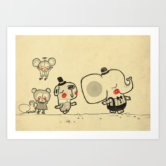 Forest Friends \ Cute Animals March\ elephant cats dogs  Art Print