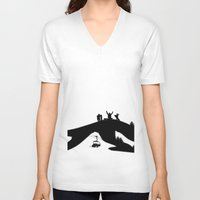 snowboard V-neck T-shirts featuring Snowboard by A&N2218