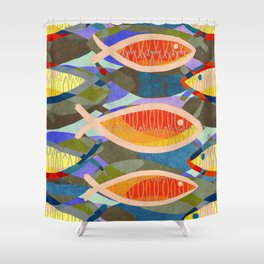 Fish Tale (Gold) Shower Curtain
