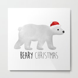 Beary Christmas | Polar Bear Metal Print