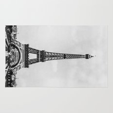 Eiffel tower in B&W with painterly effect Rug