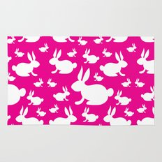 Bunny Pattern Pink and White Rug