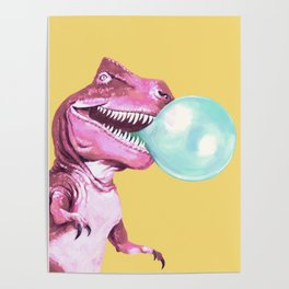 Bubble Gum Pink T-rex in Yellow Poster