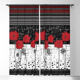 Applique Poppies on black and white background . Blackout Curtain