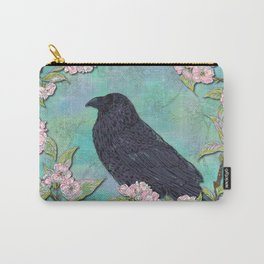 Raven and Apple Blossom Carry-All Pouch