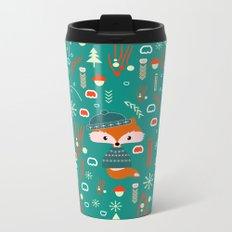 Cute fox waiting for Christmas Metal Travel Mug