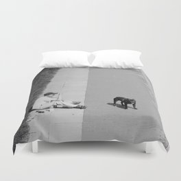 way out in the water... Duvet Cover