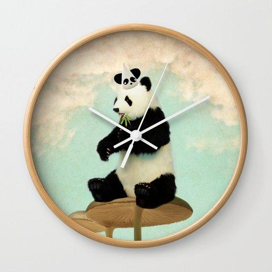 Wild Mushroom Panda Party Wall Clock