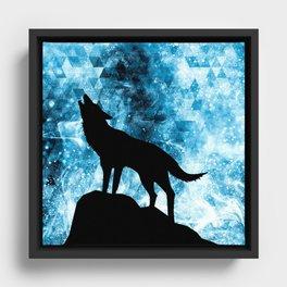 Howling Winter Wolf snowy blue smoke Framed Canvas