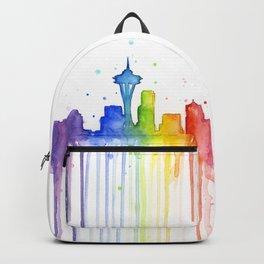 Seattle Skyline Rainbow Watercolor Backpack