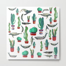 Cactus & whales Pattern Metal Print