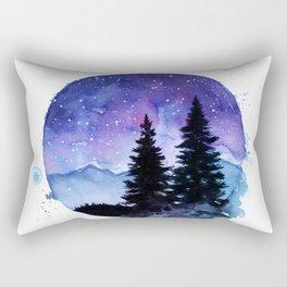 Night Sky Galaxy over the Pines Rectangular Pillow