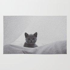 Kitten under the sheets Rug