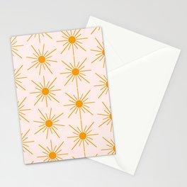 Sun Pattern On Pink Background Stationery Cards