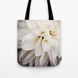 White Tea Stained Dahlia Tote Bag