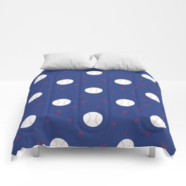 Baseball & Stars - Blue Comforters